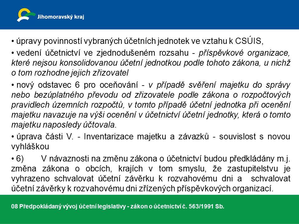 08 Předpokládaný vývoj účetní legislativy - zákon o účetnictví č.