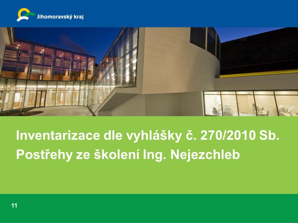 11 Inventarizace dle vyhlášky č. 270/2010 Sb. Postřehy ze školení Ing. Nejezchleb