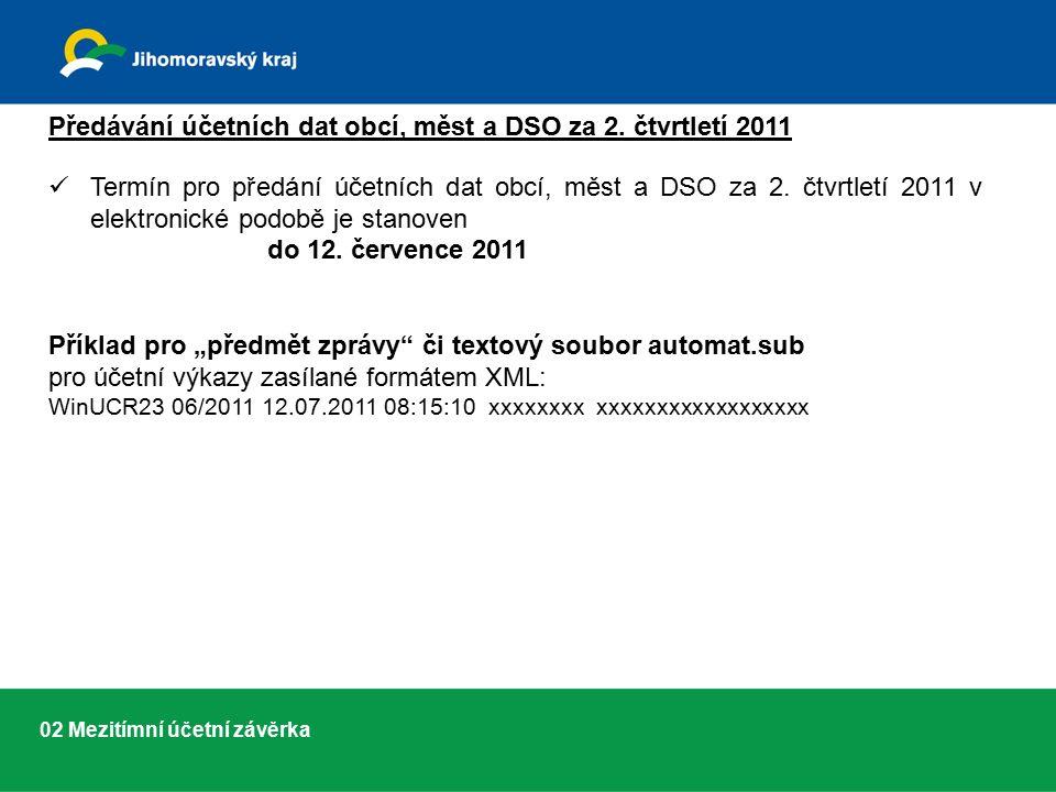 02 Mezitímní účetní závěrka Předávání účetních dat obcí, měst a DSO za 2.