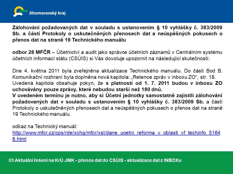03 Aktuální řešení na KrÚ JMK - přenos dat do CSÚIS - aktualizace dat z INBOXu Zálohování požadovaných dat v souladu s ustanovením § 10 vyhlášky č.