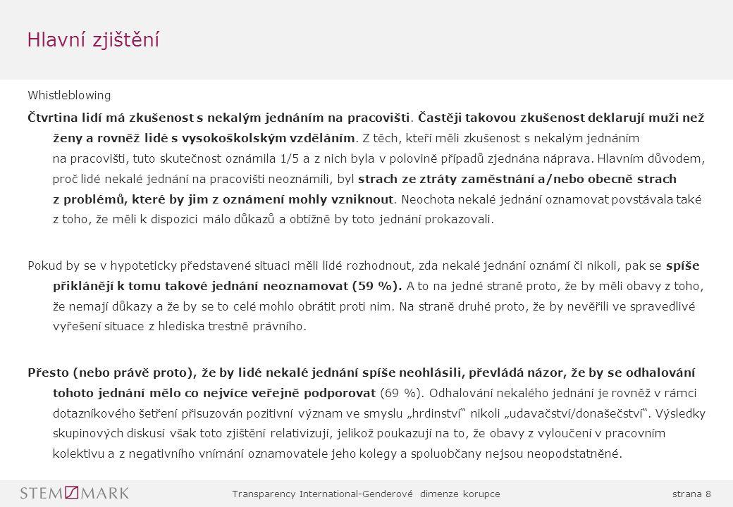 Transparency International-Genderové dimenze korupcestrana 9 Vnímání korupce v ČR