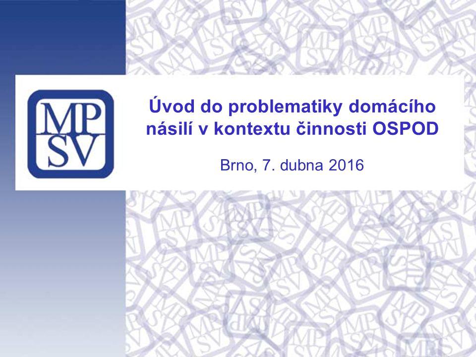 Počet případů DN řešených OSPOD Počty případů domácího násilí, kterého byly přítomny nezletilé děti a které byly řešeny OSPOD: Zdroj: Statistické výkazy V (MPSV) 20-01 o výkonu sociálně-právní ochrany dětí 2008200920102011201220132014 Počet případů celkem 1 5661 7211 9762 5052 5302 5832 592 z toho počet případů s vykázáním 412459651726753699788 Zdroj: Statistické výkazy V (MPSV) 20-01 o výkonu sociálně-právní ochrany dětí Nejvíce případů je zaznamenáváno v Moravskoslezském kraji, Jihomoravském kraji, Ústeckém kraji a Středočeském kraji, nejméně v Královéhradeckém kraji, Karlovarském kraji a Pardubickém kraji.