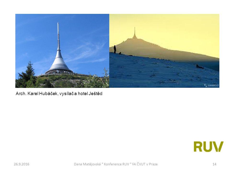 26.9.2016Dana Matějovská ° Konference RUV ° FA ČVUT v Praze14 Arch. Karel Hubáček, vysílač a hotel Ještěd