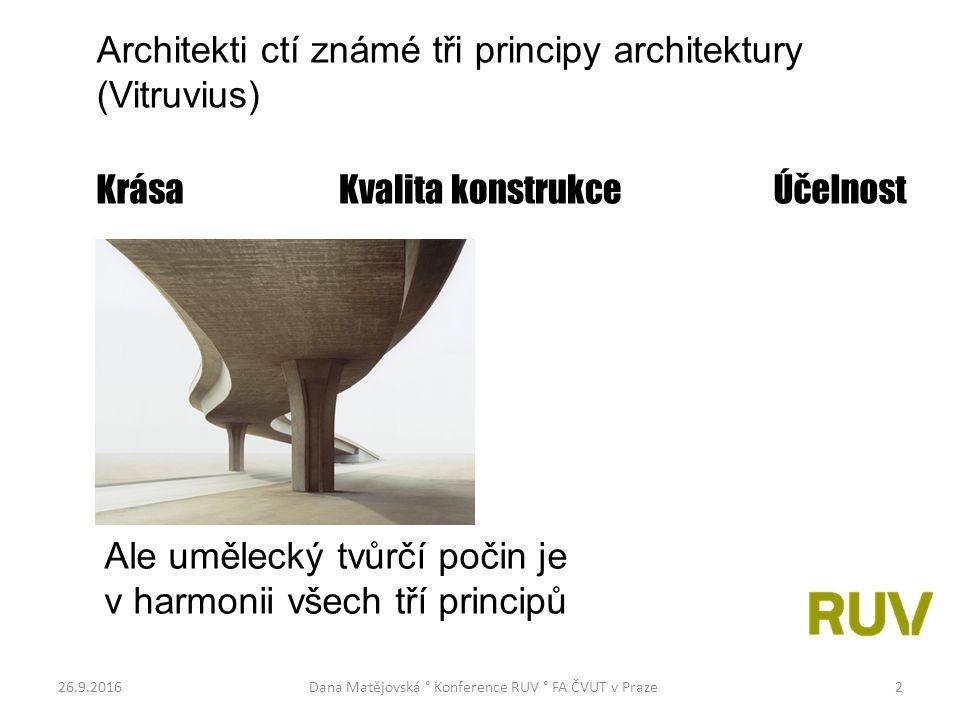 26.9.2016Dana Matějovská ° Konference RUV ° FA ČVUT v Praze2 Architekti ctí známé tři principy architektury (Vitruvius) Krása Kvalita konstrukce Účelnost Ale umělecký tvůrčí počin je v harmonii všech tří principů