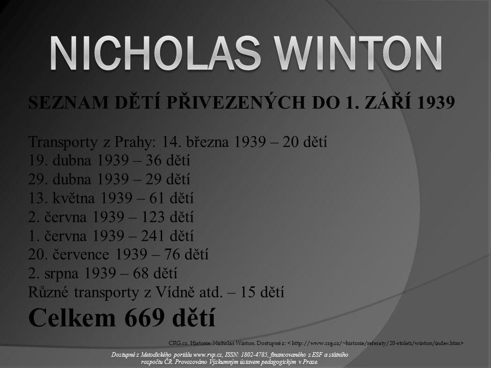 SEZNAM DĚTÍ PŘIVEZENÝCH DO 1. ZÁŘÍ 1939 Transporty z Prahy: 14.