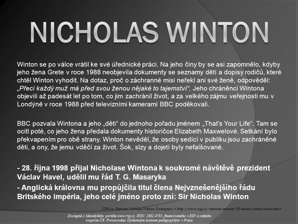 Winton se po válce vrátil ke své úřednické práci.