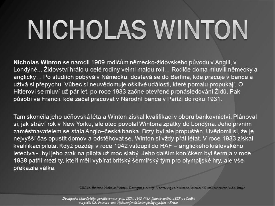 1) Kdy a kde se Winton narodil.2) Z jaké rodiny pocházel.