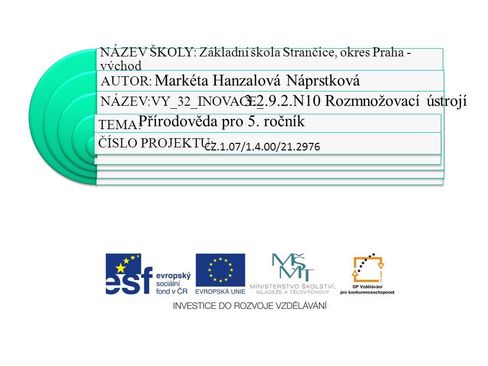 NÁZEV ŠKOLY: Základní škola Strančice, okres Praha - východ AUTOR: NÁZEV:VY_32_INOVACE_ TEMA: ČÍSLO PROJEKTU: CZ.1.07/1.4.00/21.2976 Markéta Hanzalová Náprstková 3.2.9.2.N10 Rozmnožovací ústrojí Přírodověda pro 5.