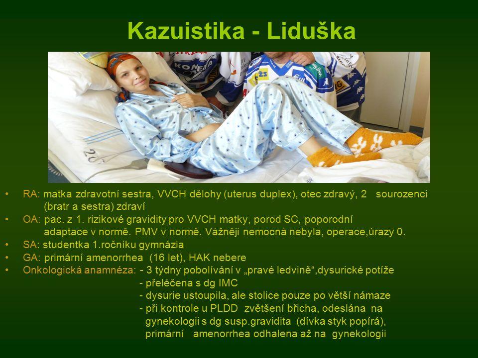 Kazuistika - Liduška RA: matka zdravotní sestra, VVCH dělohy (uterus duplex), otec zdravý, 2 sourozenci (bratr a sestra) zdraví OA: pac.