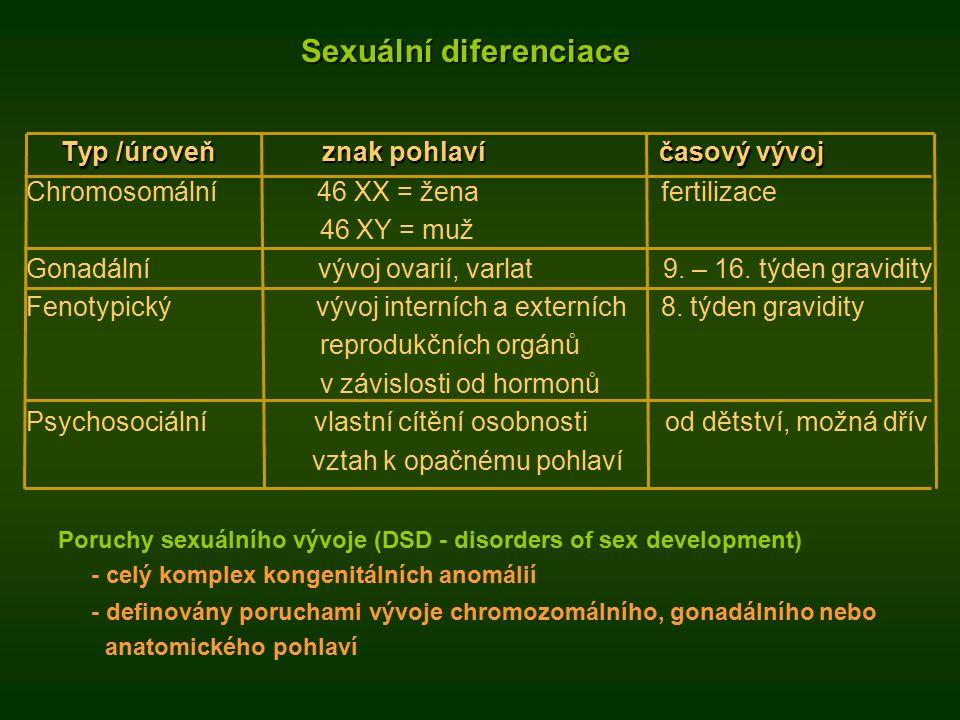 Sexuální diferenciace Sexuální diferenciace Typ /úroveňznak pohlavíčasový vývoj Typ /úroveň znak pohlaví časový vývoj Chromosomální 46 XX = žena fertilizace 46 XY = muž Gonadální vývoj ovarií, varlat 9.
