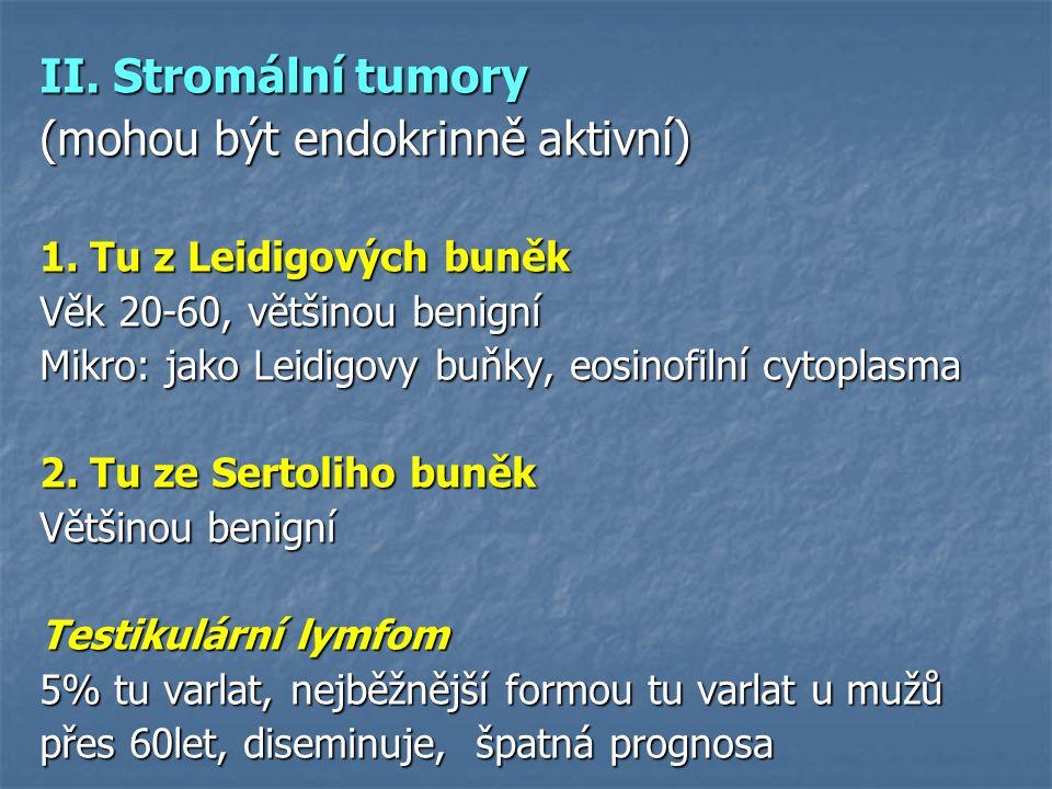 II. Stromální tumory (mohou být endokrinně aktivní) 1. Tu z Leidigových buněk Věk 20-60, většinou benigní Mikro: jako Leidigovy buňky, eosinofilní cyt