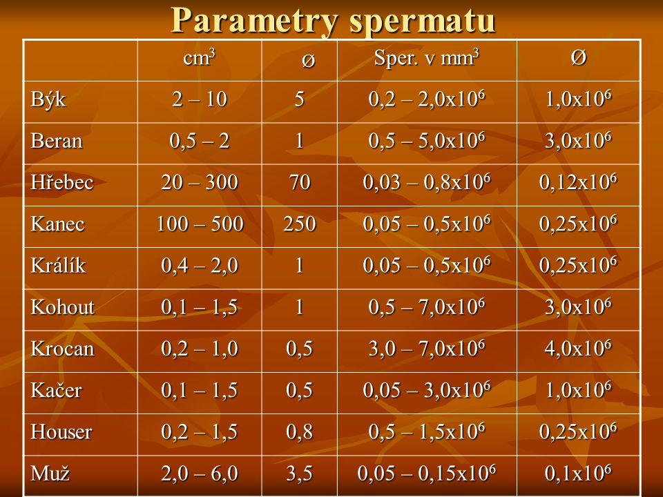 Parametry spermatu cm 3 Ø Sper. v mm 3 Ø Býk 2 – 10 5 0,2 – 2,0x10 6 1,0x10 6 Beran 0,5 – 2 1 0,5 – 5,0x10 6 3,0x10 6 Hřebec 20 – 300 70 0,03 – 0,8x10
