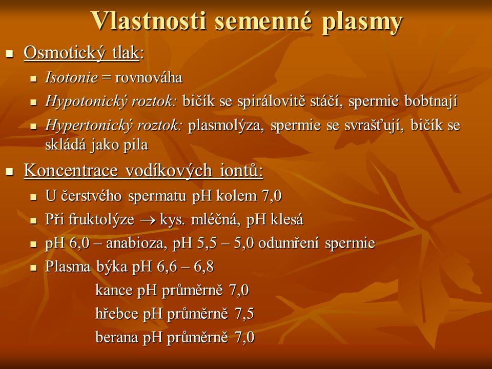 Vlastnosti semenné plasmy Osmotický tlak: Osmotický tlak: Isotonie = rovnováha Isotonie = rovnováha Hypotonický roztok: bičík se spirálovitě stáčí, sp