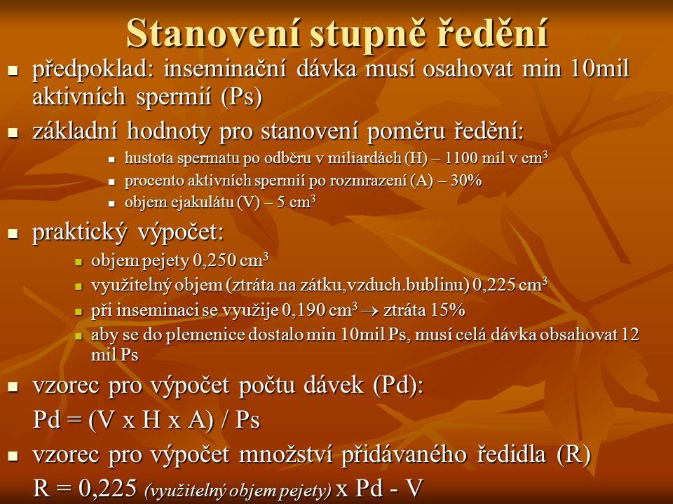 Stanovení stupně ředění předpoklad: inseminační dávka musí osahovat min 10mil aktivních spermií (Ps) předpoklad: inseminační dávka musí osahovat min 1