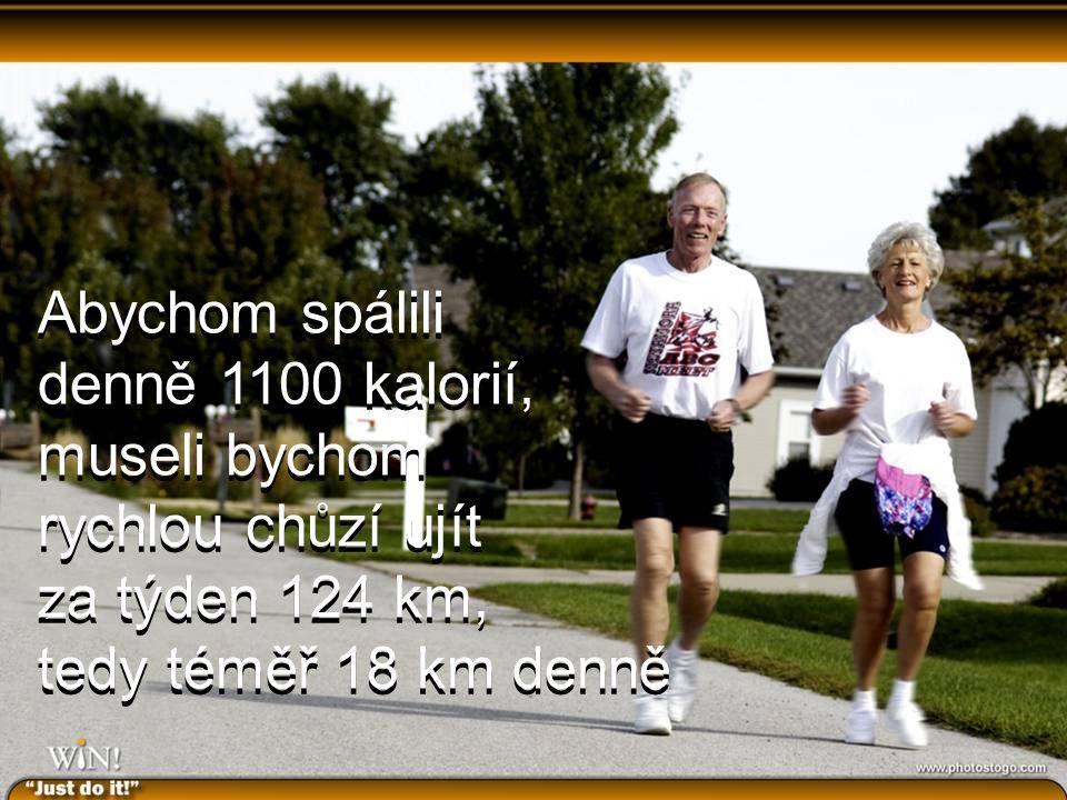 Abychom spálili denně 1100 kalorií, museli bychom rychlou chůzí ujít za týden 124 km, tedy téměř 18 km denně