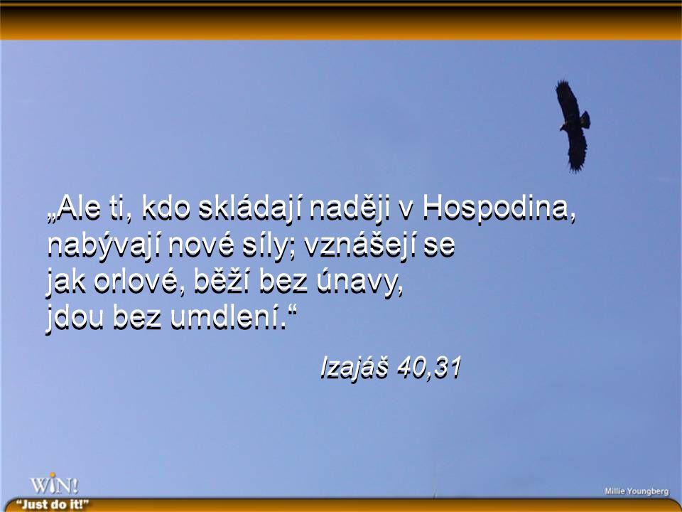 """""""Ale ti, kdo skládají naději v Hospodina, nabývají nové síly; vznášejí se jak orlové, běží bez únavy, jdou bez umdlení. Izajáš 40,31 """"Ale ti, kdo skládají naději v Hospodina, nabývají nové síly; vznášejí se jak orlové, běží bez únavy, jdou bez umdlení. Izajáš 40,31"""