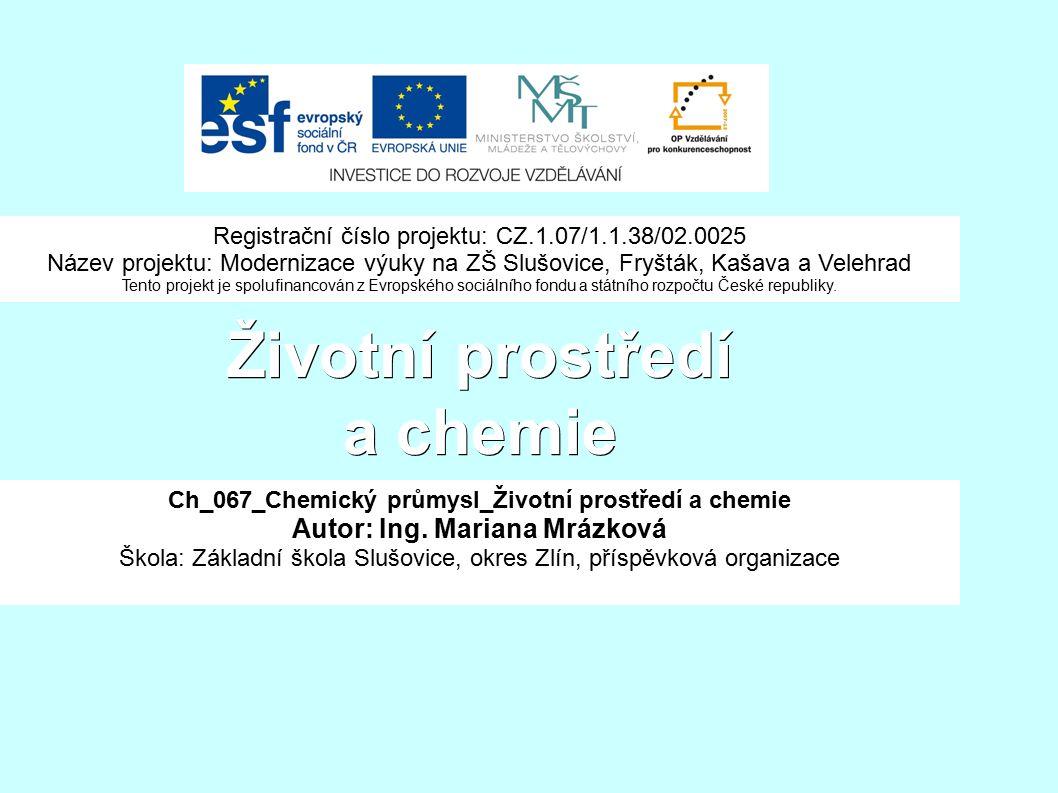 Životní prostředí a chemie Ch_067_Chemický průmysl_Životní prostředí a chemie Autor: Ing.