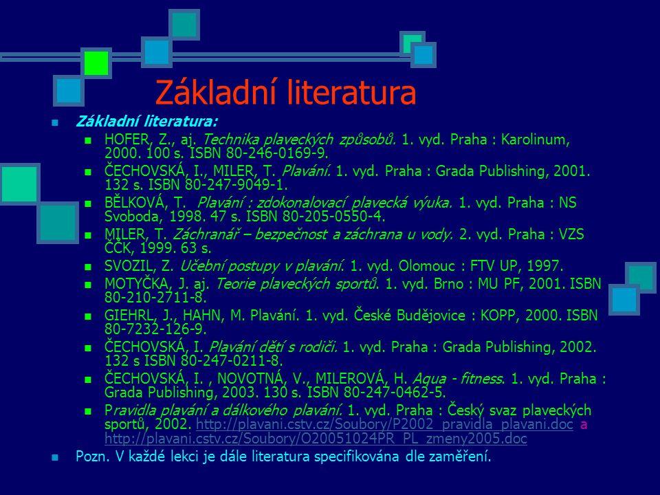 Základní literatura Základní literatura: HOFER, Z., aj. Technika plaveckých způsobů. 1. vyd. Praha : Karolinum, 2000. 100 s. ISBN 80-246-0169-9. ČECHO