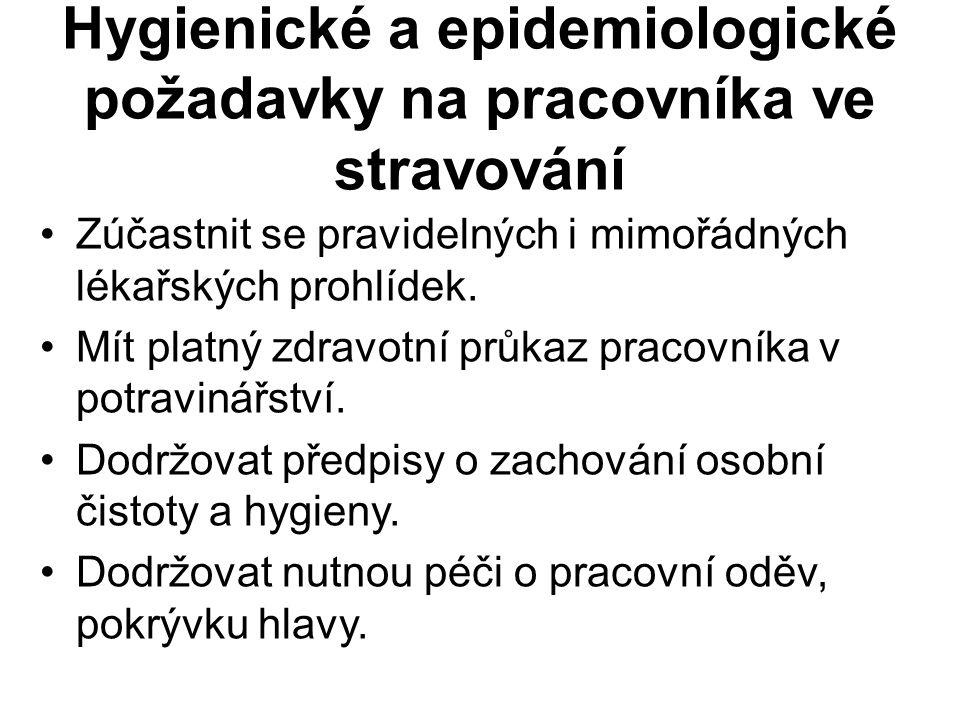 Hygienické a epidemiologické požadavky na pracovníka ve stravování Zúčastnit se pravidelných i mimořádných lékařských prohlídek.