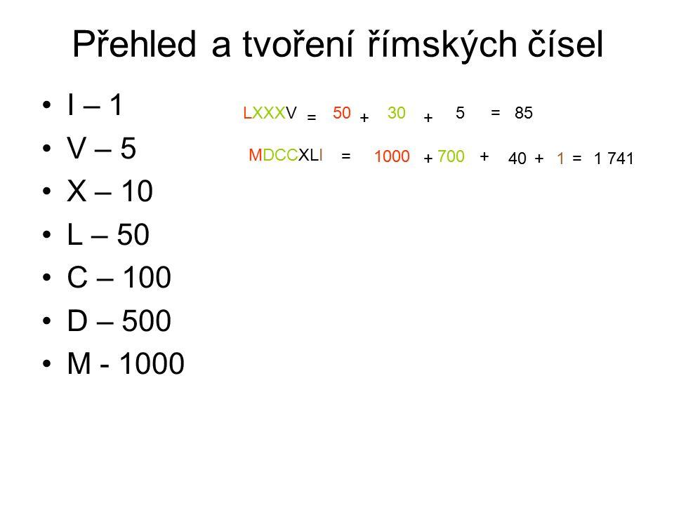 Přehled a tvoření římských čísel I – 1 V – 5 X – 10 L – 50 C – 100 D – 500 M - 1000 LXXXV = 50 + 30 + 5=85 MDCCXLI =1000 + 700 + 40 + 1 = 1 741