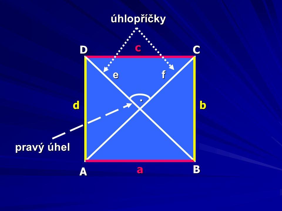 každý čtverec má čtyři strany a čtyři vrcholy protilehlé strany jsou rovnoběžné čtverec má všechny strany stejně dlouhé vedlejší strany jsou na sebe kolmé a svírají pravý úhel úsečky, které spojují protilehlé vrcholy obdélníku, se nazývají úhlopříčky úhlopříčky e, f mají stejnou délku a navzájem se půlí, jsou na sebe kolmé