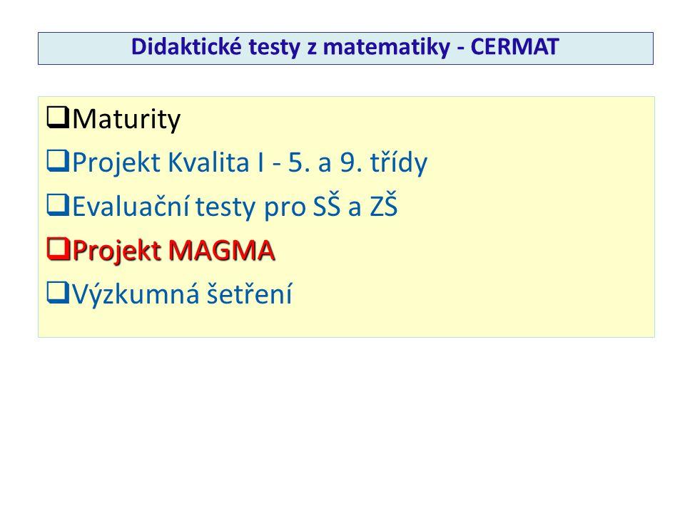  Maturity  Projekt Kvalita I - 5. a 9. třídy  Evaluační testy pro SŠ a ZŠ  Projekt MAGMA  Výzkumná šetření Didaktické testy z matematiky - CERMAT