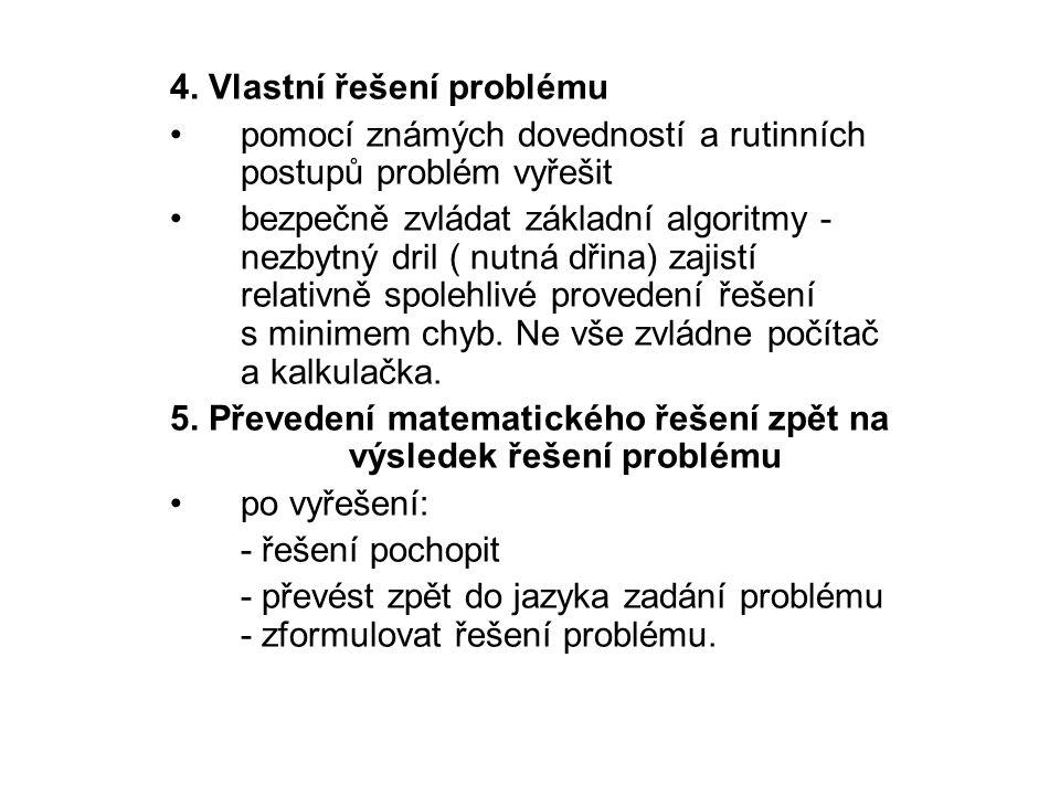 4. Vlastní řešení problému pomocí známých dovedností a rutinních postupů problém vyřešit bezpečně zvládat základní algoritmy - nezbytný dril ( nutná d