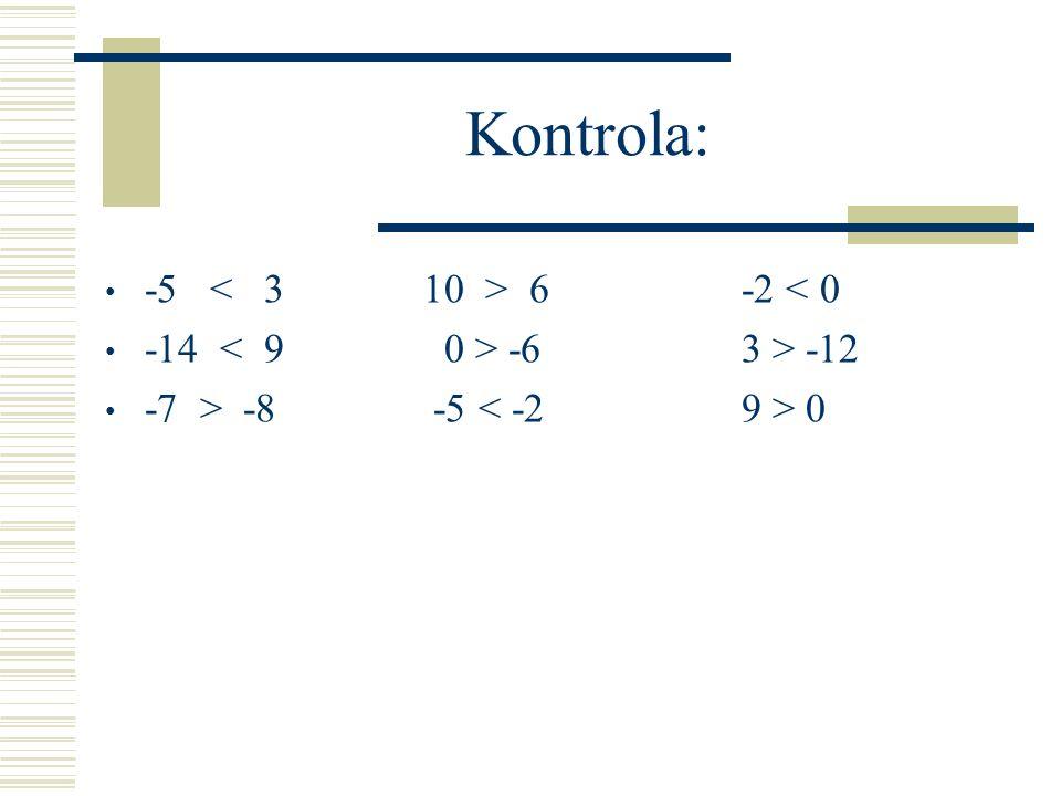 Kontrola: -5 6 -2 < 0 -14 -6 3 > -12 -7 > -8 -5 0