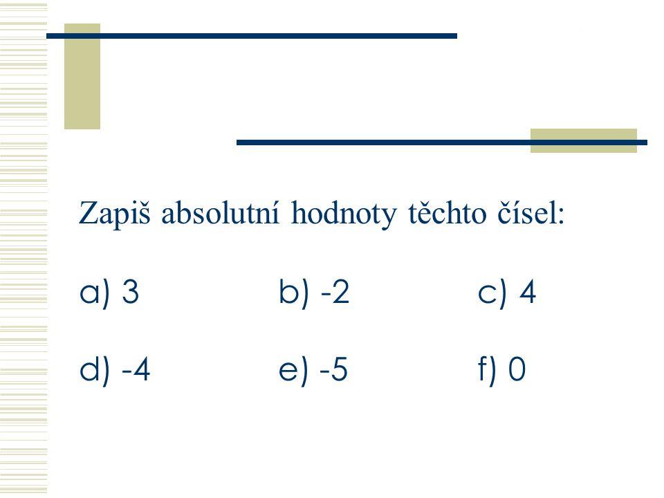 26.9.2016 Zapiš absolutní hodnoty těchto čísel: a) 3b) -2c) 4 d) -4e) -5f) 0