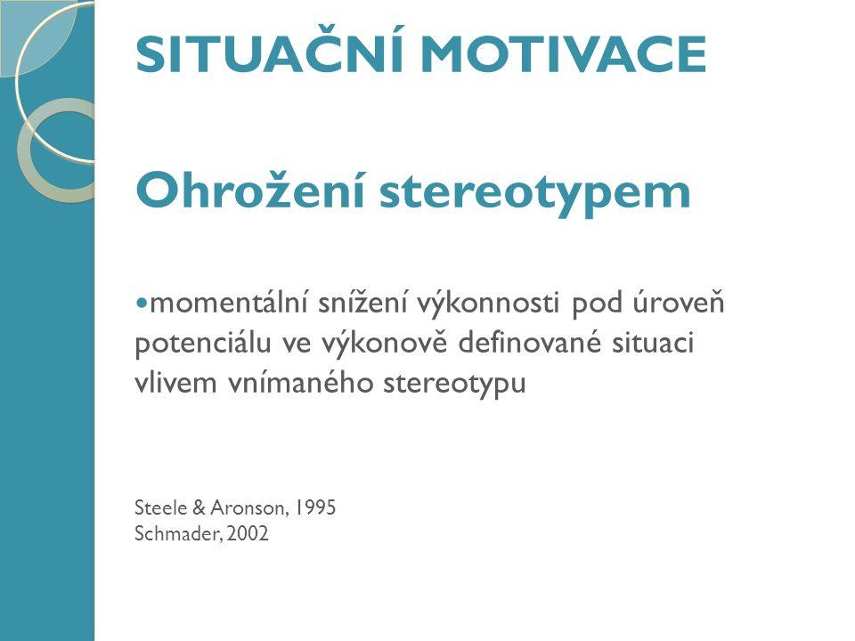 SITUAČNÍ MOTIVACE Ohrožení stereotypem momentální snížení výkonnosti pod úroveň potenciálu ve výkonově definované situaci vlivem vnímaného stereotypu Steele & Aronson, 1995 Schmader, 2002