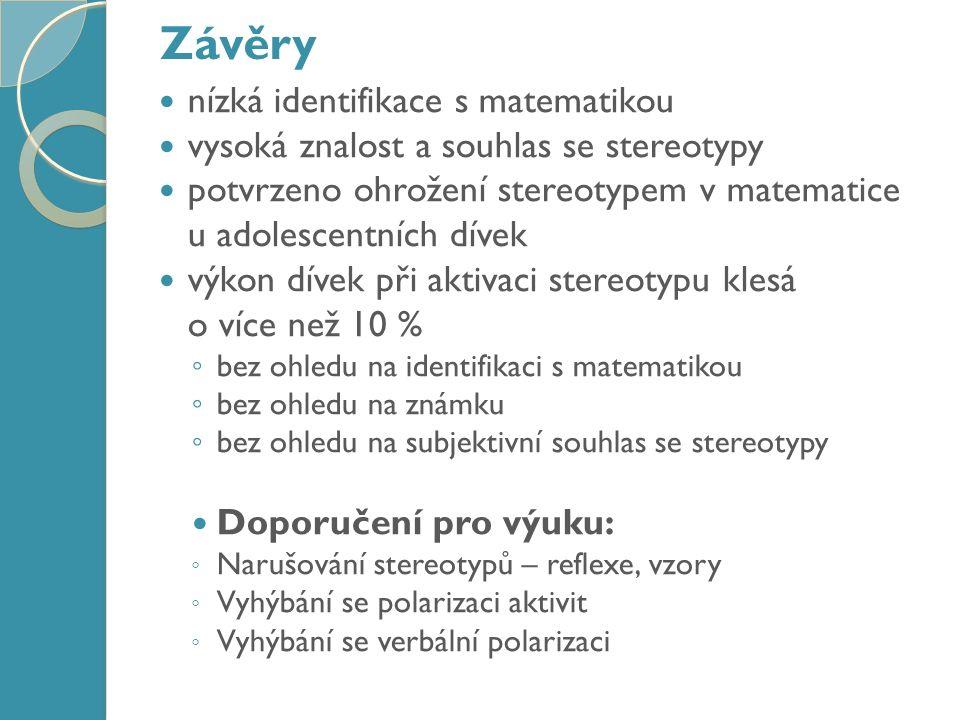 Závěry nízká identifikace s matematikou vysoká znalost a souhlas se stereotypy potvrzeno ohrožení stereotypem v matematice u adolescentních dívek výkon dívek při aktivaci stereotypu klesá o více než 10 % ◦ bez ohledu na identifikaci s matematikou ◦ bez ohledu na známku ◦ bez ohledu na subjektivní souhlas se stereotypy Doporučení pro výuku: ◦ Narušování stereotypů – reflexe, vzory ◦ Vyhýbání se polarizaci aktivit ◦ Vyhýbání se verbální polarizaci