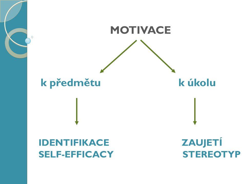 MOTIVACE k předmětu k úkolu IDENTIFIKACE ZAUJETÍ SELF-EFFICACY STEREOTYP