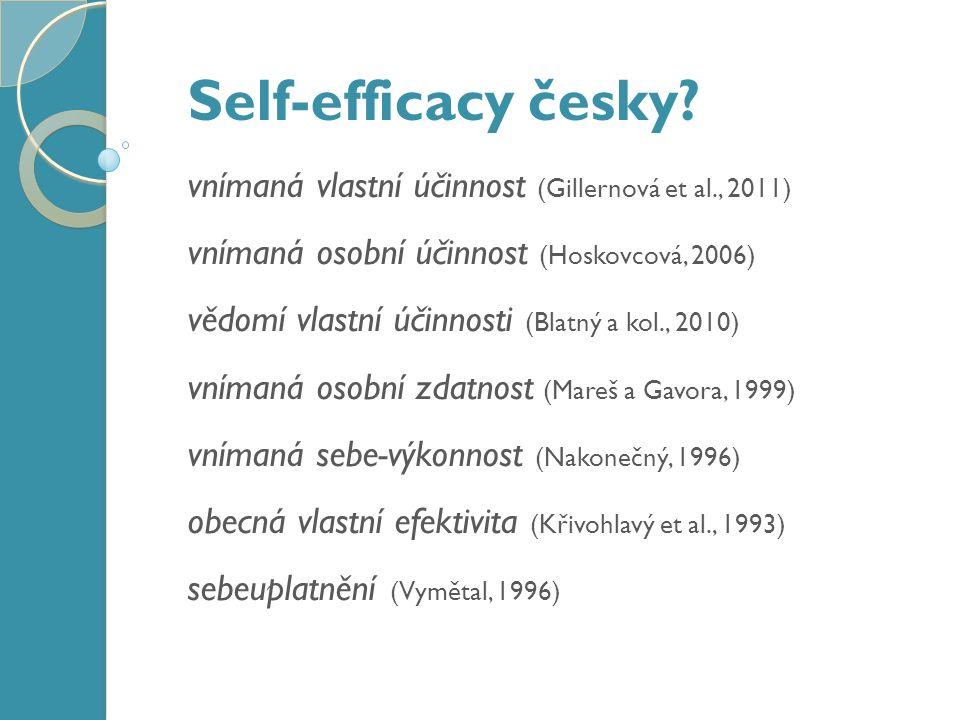 Co self-efficacy není? Inteligence / nadání Sebevědomí Zdroj kontroly (locus of control)