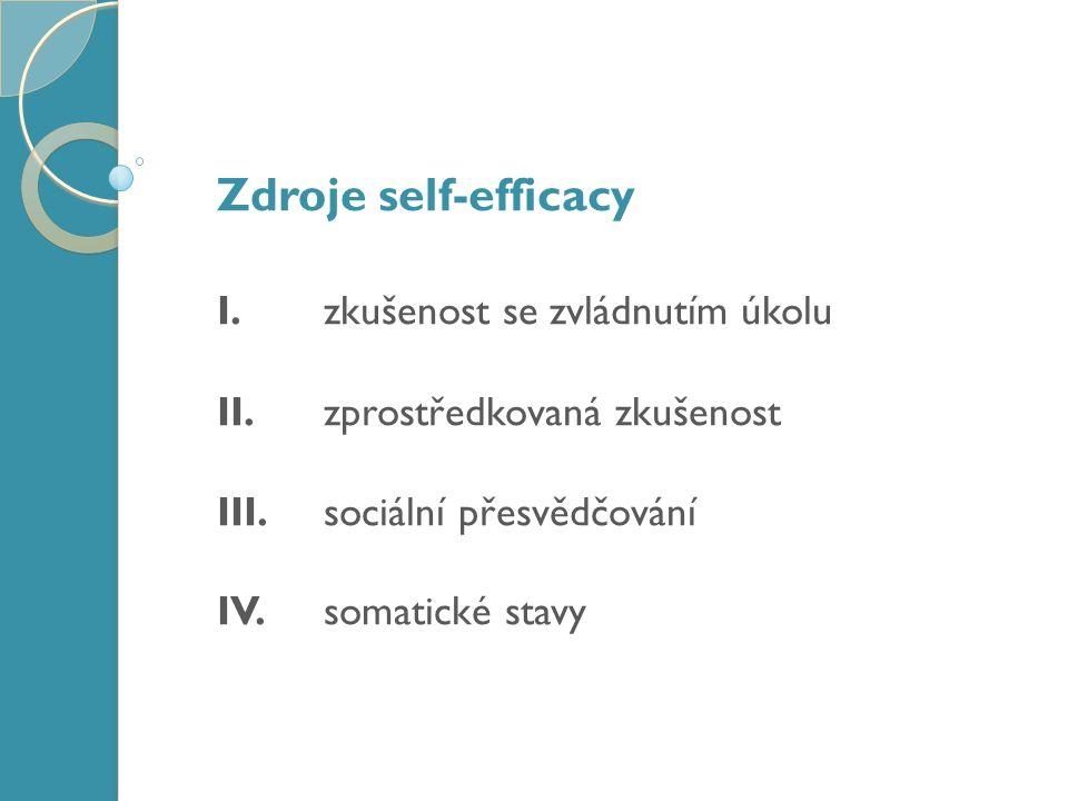 Zdroje self-efficacy I. zkušenost se zvládnutím úkolu II.