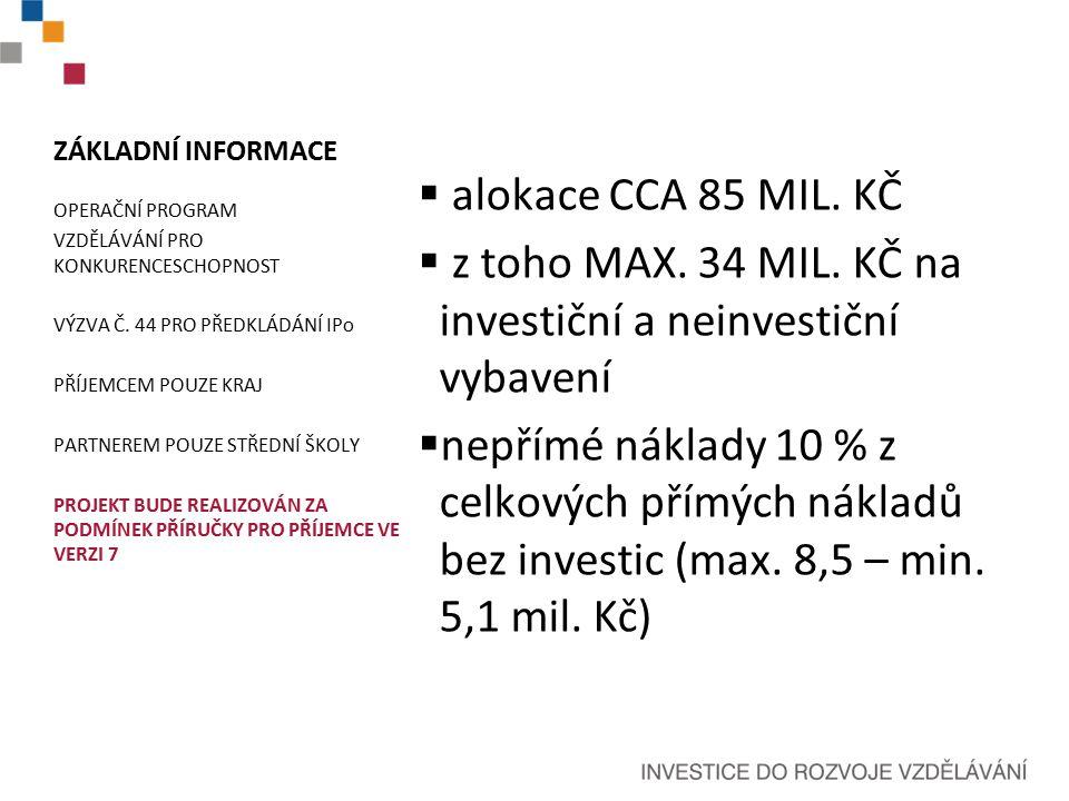 ZÁKLADNÍ INFORMACE  alokace CCA 85 MIL. KČ  z toho MAX.