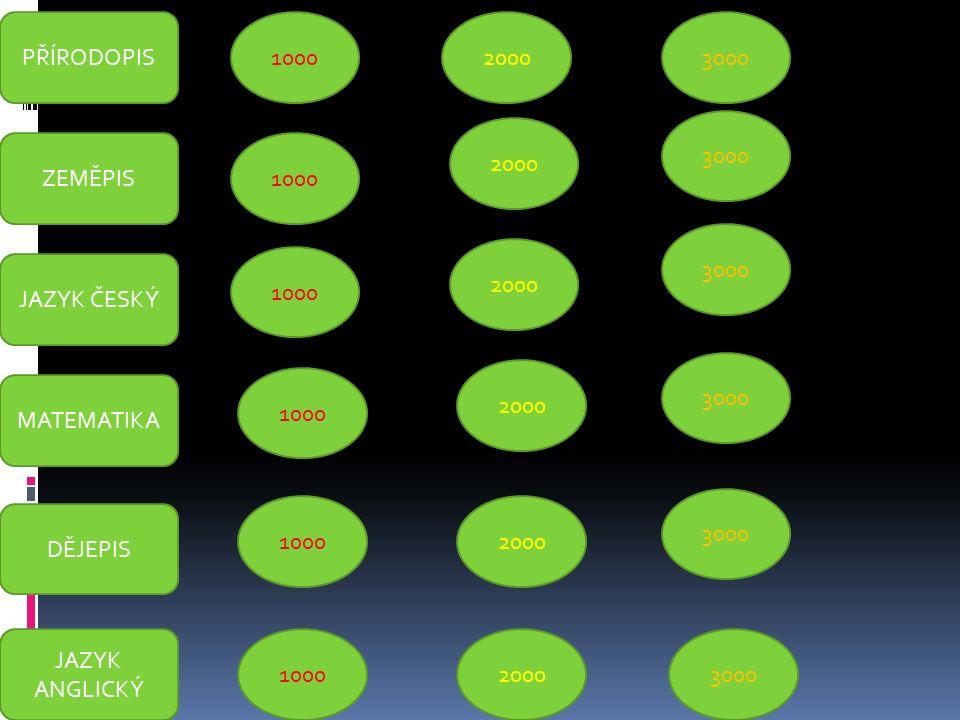 PŘÍRODOPIS ZEMĚPIS 1000 JAZYK ČESKÝ 1000 MATEMATIKA DĚJEPIS JAZYK ANGLICKÝ 1000 2000 3000