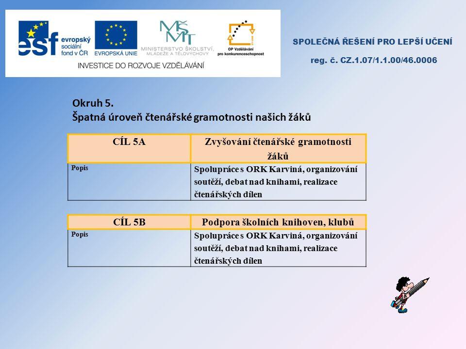 SPOLEČNÁ ŘEŠENÍ PRO LEPŠÍ UČENÍ reg. č. CZ.1.07/1.1.00/46.0006 Okruh 5.