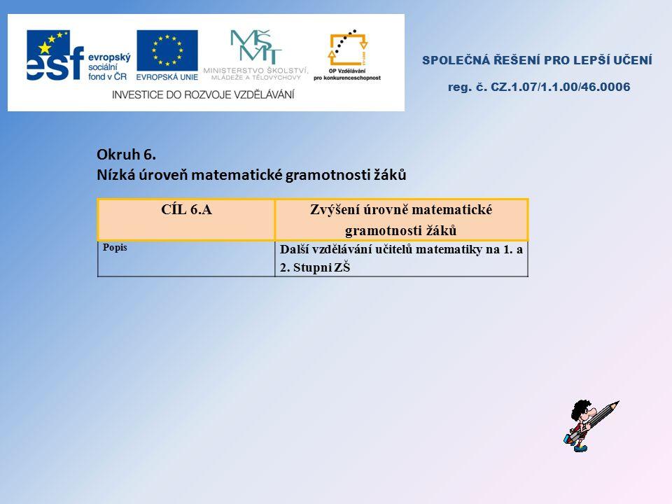 SPOLEČNÁ ŘEŠENÍ PRO LEPŠÍ UČENÍ reg. č. CZ.1.07/1.1.00/46.0006 Okruh 6.