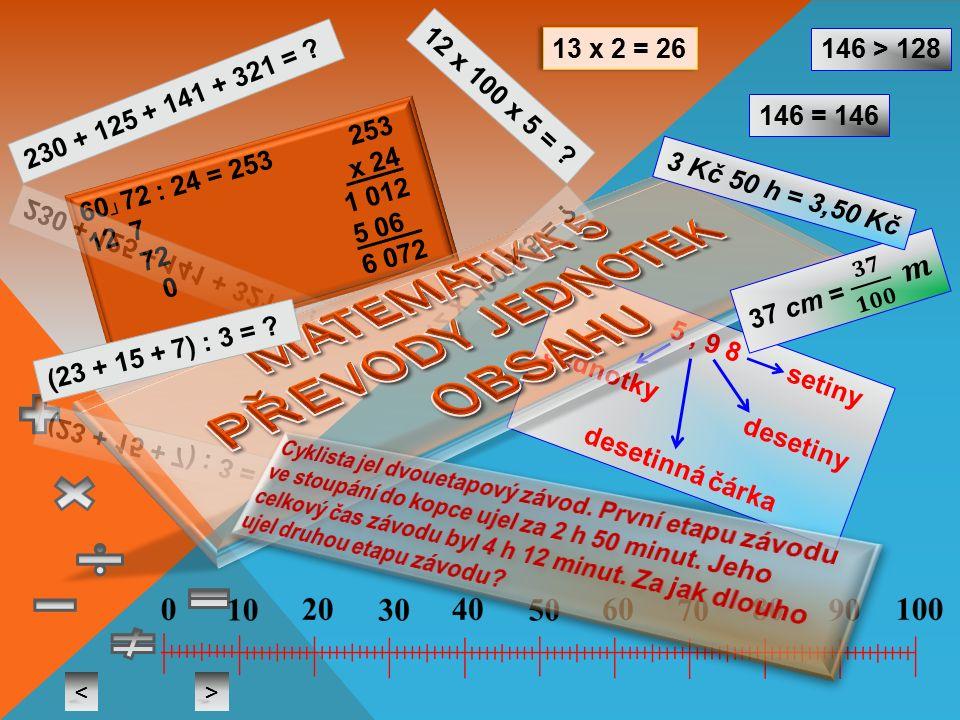 60 ┘ 72 : 24 = 253 253 12 7 x 24 72 1 012 0 5 06 6 072 5, 9 8 setiny Jednotky desetiny desetinná čárka 13 x 2 = 26 < > 146 > 128 146 = 146 3 Kč 50 h = 3,50 Kč