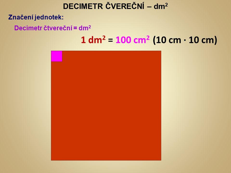 CENTIMETR ČVEREČNÍ – cm 2 Značení jednotek: Centimetr čtvereční = cm 2 1 cm 2 = 100 mm 2 (10 mm ∙ 10 mm) Milimetr čtvereční = mm 2