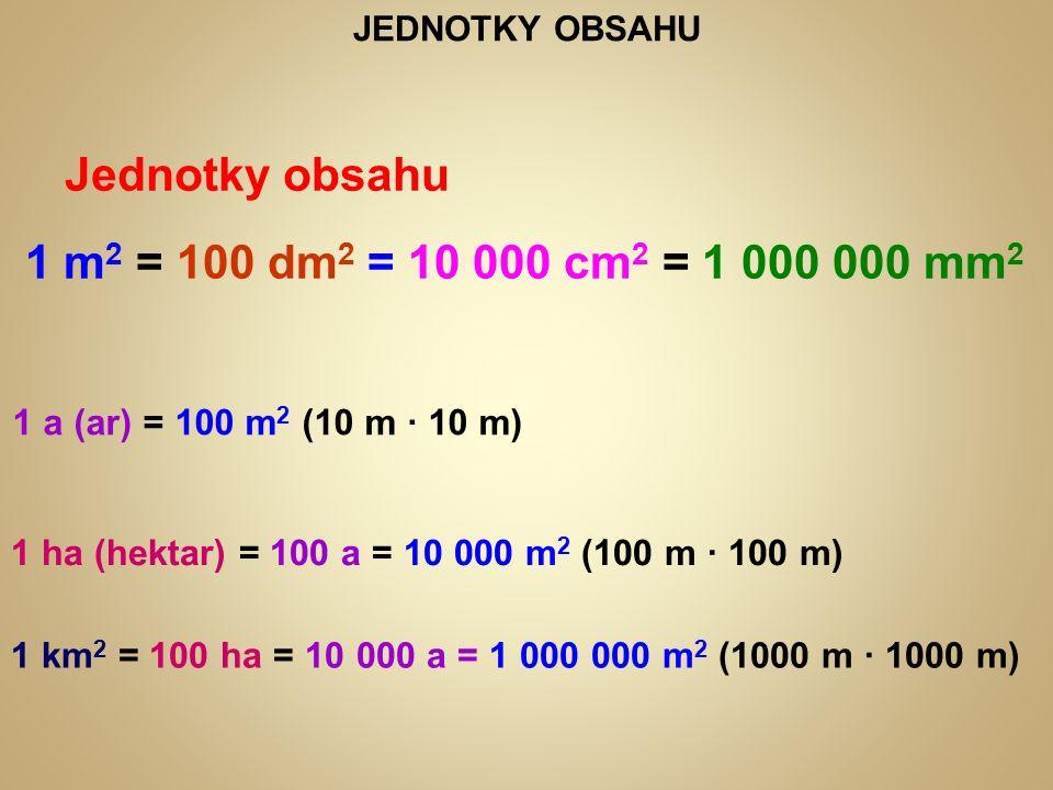 JEDNOTKY OBSAHU Jednotky obsahu 1 m 2 = 100 dm 2 = 10 000 cm 2 = 1 000 000 mm 2 1 a (ar) = 100 m 2 (10 m ∙ 10 m) 1 ha (hektar) = 100 a = 10 000 m 2 (100 m ∙ 100 m) 1 km 2 = 100 ha = 10 000 a = 1 000 000 m 2 (1000 m ∙ 1000 m)
