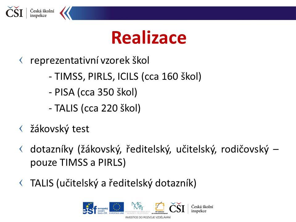 reprezentativní vzorek škol - TIMSS, PIRLS, ICILS (cca 160 škol) - PISA (cca 350 škol) - TALIS (cca 220 škol) žákovský test dotazníky (žákovský, ředit