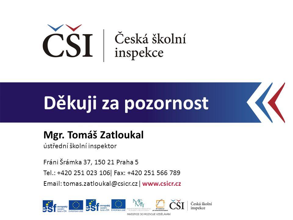 Děkuji za pozornost Mgr. Tomáš Zatloukal ústřední školní inspektor Fráni Šrámka 37, 150 21 Praha 5 Tel.: +420 251 023 106ǀ Fax: +420 251 566 789 Email