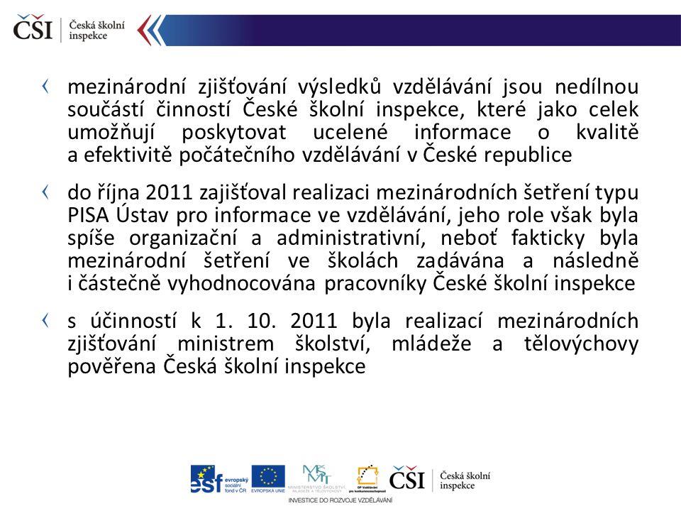 mezinárodní zjišťování výsledků vzdělávání jsou nedílnou součástí činností České školní inspekce, které jako celek umožňují poskytovat ucelené informa