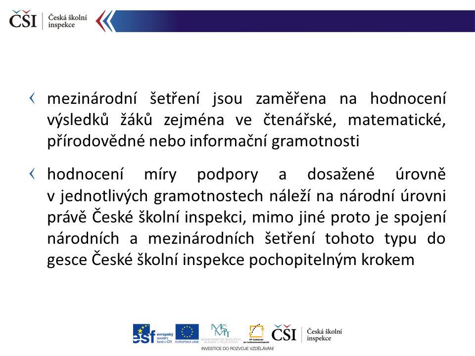 od roku 2011 je problematika mezinárodních šetření pevně ukotvena v koncepčních a strategických dokumentech České školní inspekce s realizací mezinárodních šetření prostřednictvím České školní inspekce se počítá také na úrovni strategických dokumentů rezortu školství (např.