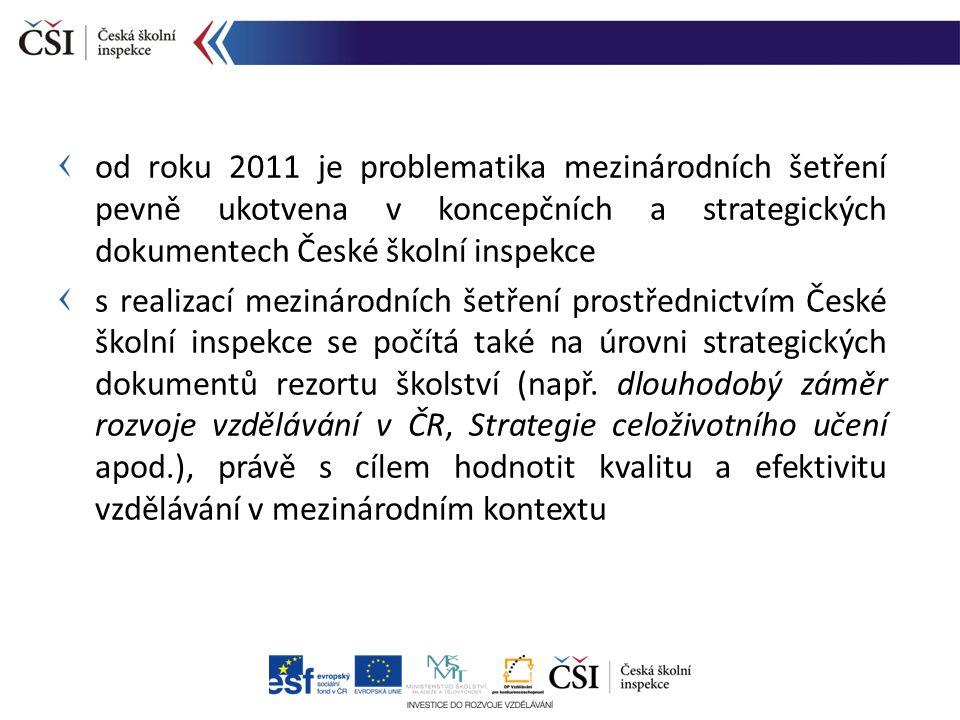 od roku 2011 je problematika mezinárodních šetření pevně ukotvena v koncepčních a strategických dokumentech České školní inspekce s realizací mezináro