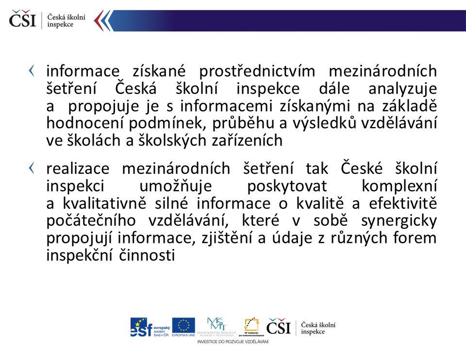 informace získané prostřednictvím mezinárodních šetření Česká školní inspekce dále analyzuje a propojuje je s informacemi získanými na základě hodnoce