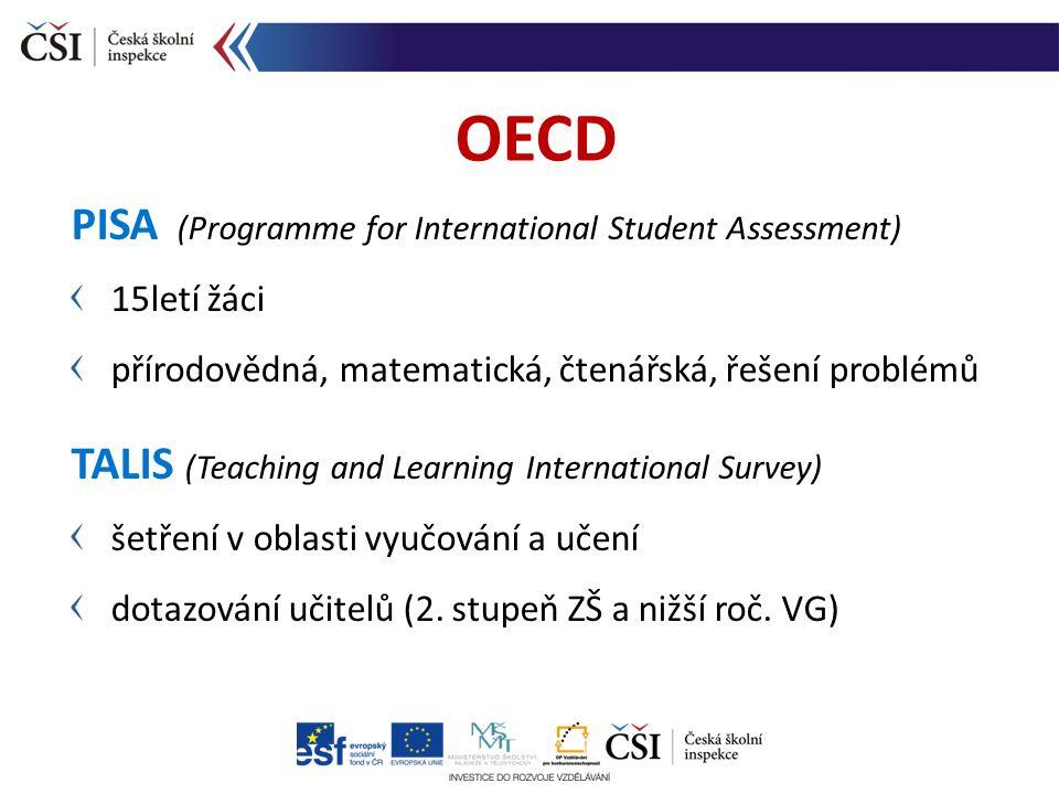 PISA (Programme for International Student Assessment) 15letí žáci přírodovědná, matematická, čtenářská, řešení problémů TALIS (Teaching and Learning I