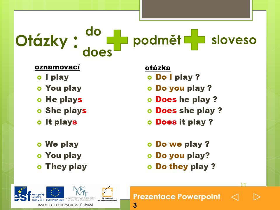 Prezentace Powerpoint 3 ffff  I play  You play  He plays  She plays  It plays  We play  You play  They play  Do I play .