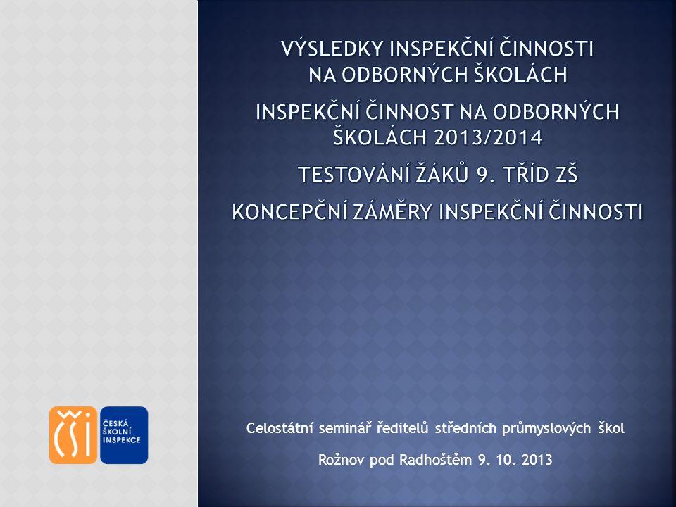 Celostátní seminář ředitelů středních průmyslových škol Rožnov pod Radhoštěm 9. 10. 2013